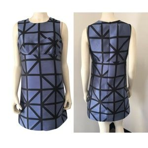 Milly Blue black graphic dress Size 4 NWT